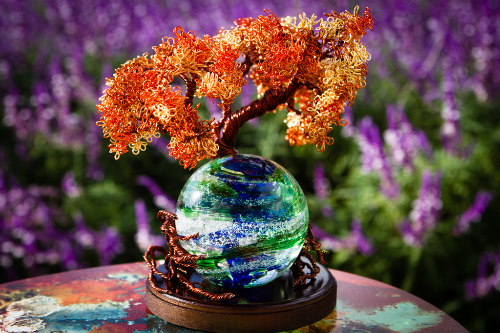 Autumn Sunshine Tree Of Life with Blue and Green Tranquil Swirl by Rachel - PAPERWEIGHT | $449.00, ashes in glass