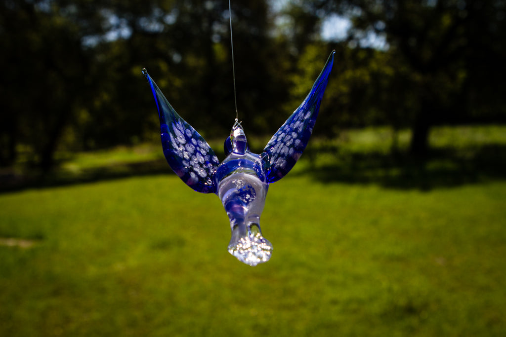 Blue Glass Hummingbird with Infused Ash - SUNCATCHER | $139.00