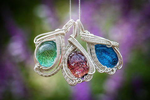 Glass cremation necklaces and pendants collection the soho sterling silver wire wrapped dichroic glass pendant with cremation ash aloadofball Gallery