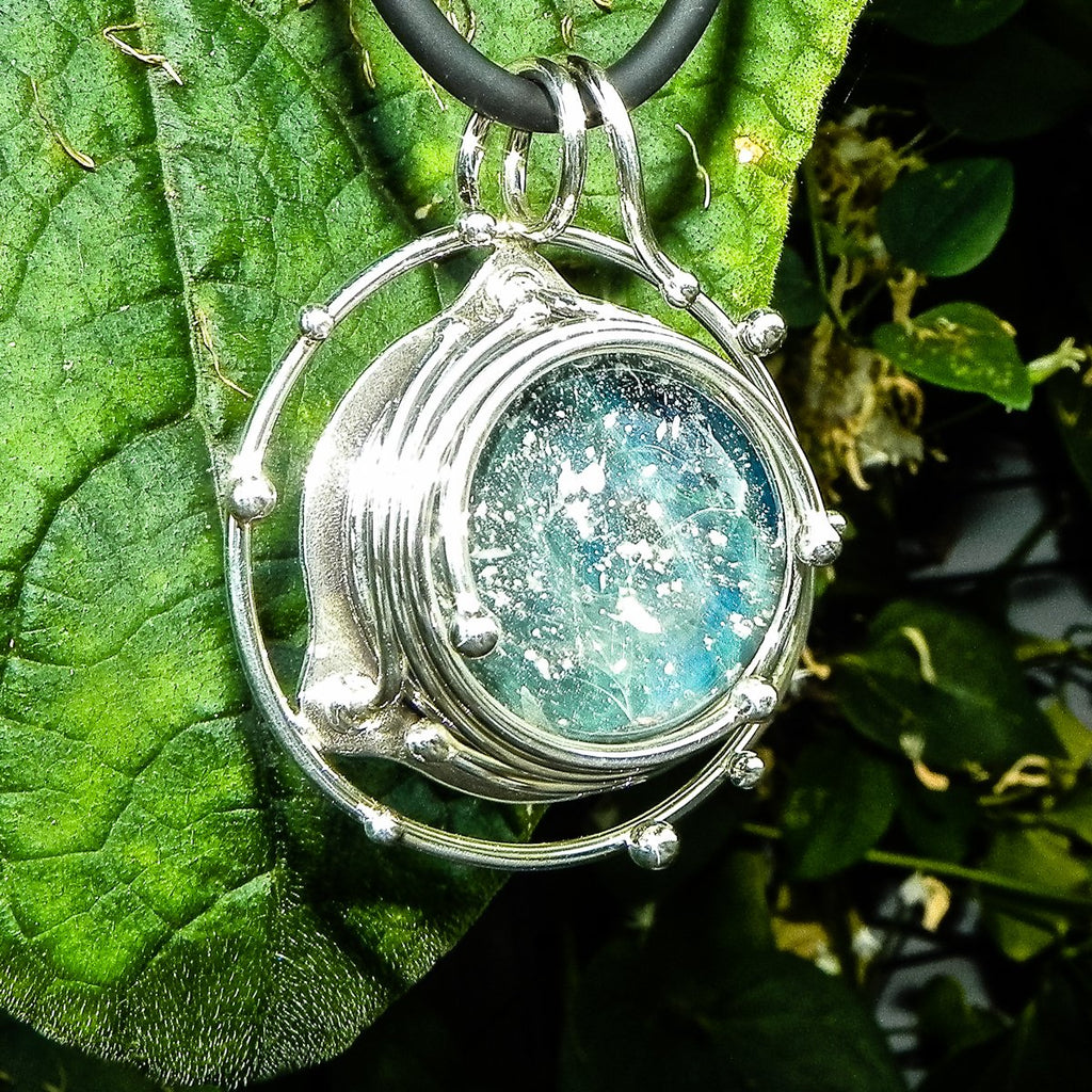 Caged Glass Galaxy Pendant - Unique Cremation Jewelry with Cremation Ash in Glass by Charles - GLASS-JEWELRY | $399.00, ashes in glass