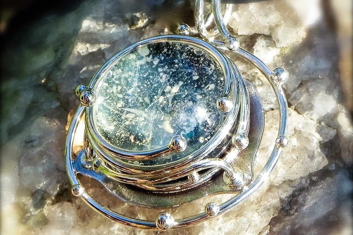 474427958df18 Caged Glass Galaxy Pendant - Unique Cremation Jewelry with Cremation Ash in  Glass by Charles $419.00 | Spirit Pieces