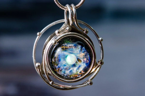 Caged Glass Galaxy Necklace- Cremation Jewelry