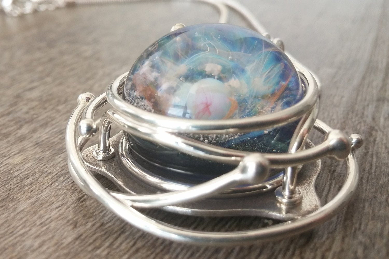 caged glass galaxy necklace cremation jewelry by charles. Black Bedroom Furniture Sets. Home Design Ideas