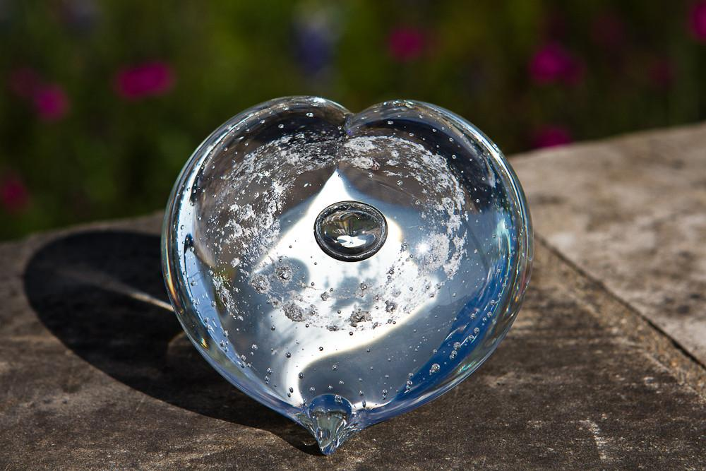 Clear Memorial Glass Heart with Cremation Ash from People and Pets