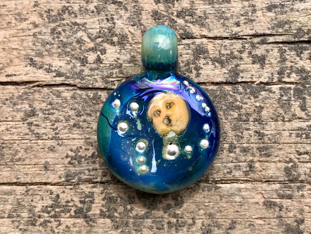 moon and glactic stars pendant with  cremation ashes