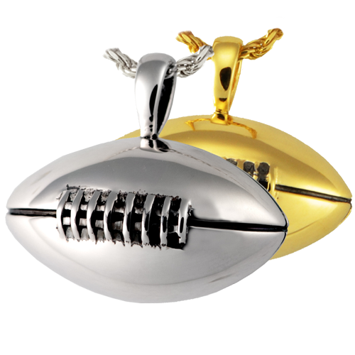 Silver Football Keepsake Pendant Urn for Cremains