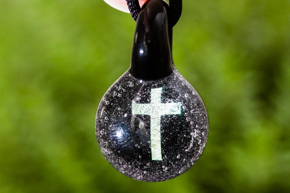 Cross Hologram Pendant with Infused Cremation Ash