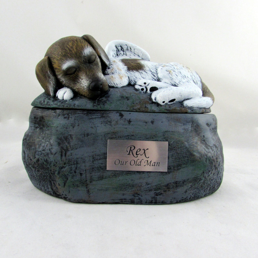 Custom Painted Ceramic Short-Haired Dog Urn - Cremation Jewelry | $209.00