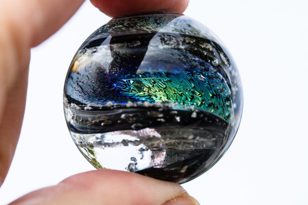 Dichroic Glass Twist Marble with Infused Cremation Ash - PAPERWEIGHT | $299.00
