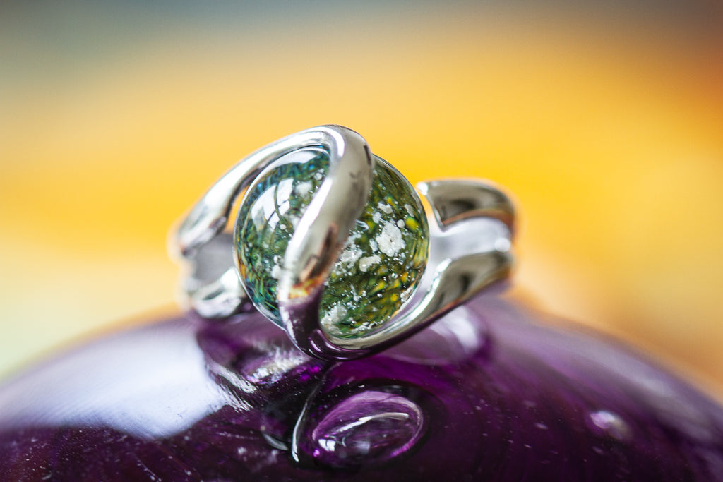 Sterling Silver Ring with 12mm Dichroic Glass Marble Infused with Cremains - GLASS-JEWELRY | $149.00