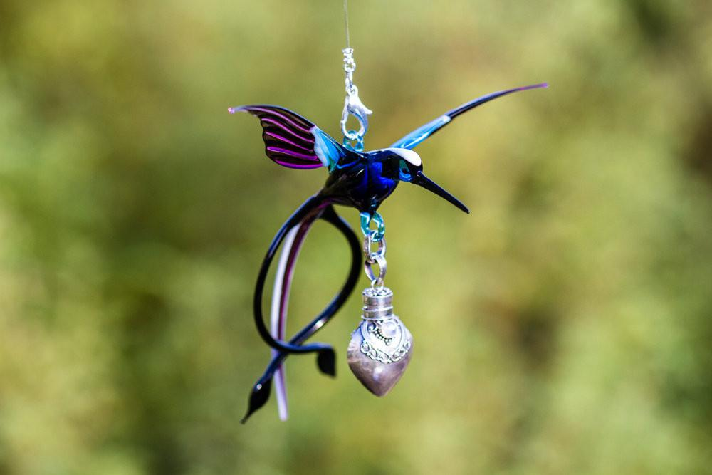 Double Tailed Hummingbird Bird with Silver Keepsake for Ashes