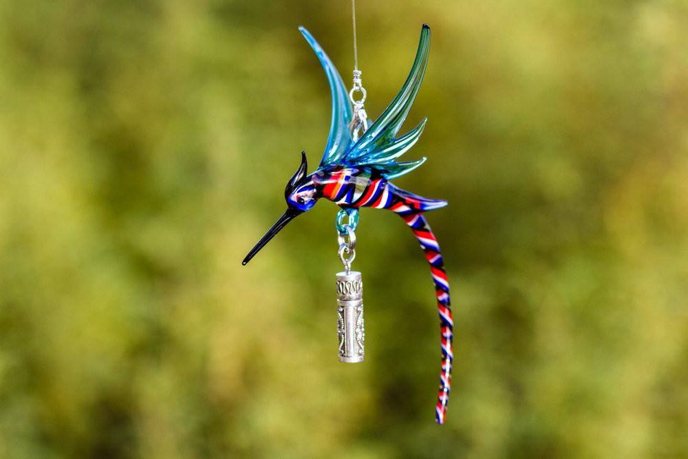 Dragon Hummingbird with Silver Keepsake for Ashes by Spirit Pieces - SUNCATCHER | $104.00, ashes in glass