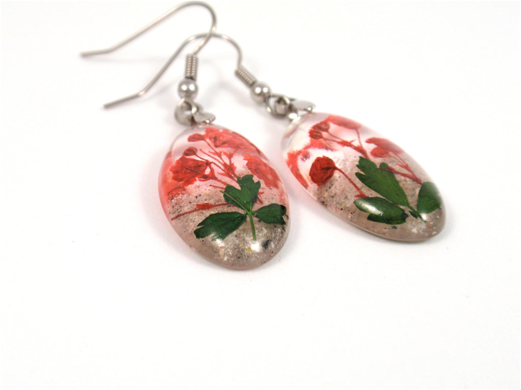 Red Baby's Breath Earrings with Cremains