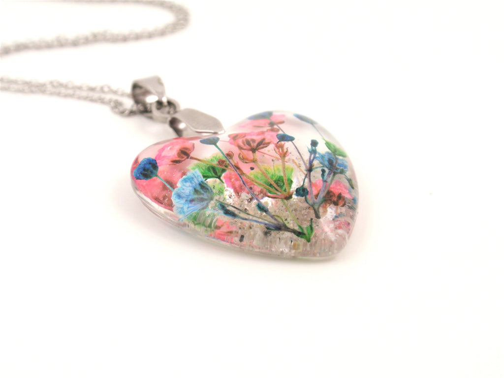 Flower Heart Necklace with Real Flower and Cremains - Cremation Jewelry | $89.00