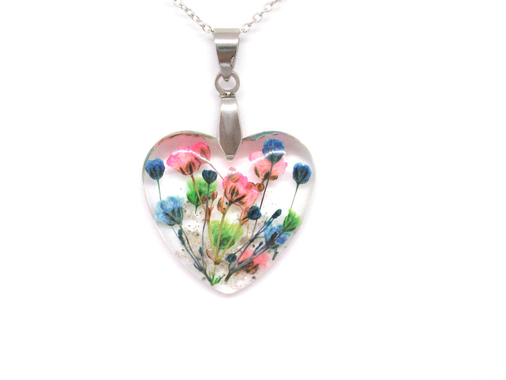 Flower Heart Necklace with Real Flower and Cremains - Cremation Jewelry | $109.00