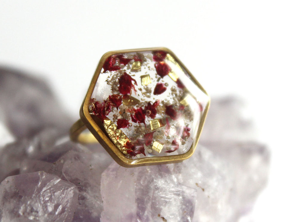 Red Baby's Breath Flower Ring with Cremains - Cremation Jewelry Ring