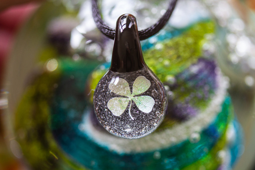 Four Leaf Clover Hologram Pendant with Infused Cremation Ash - Cremation Jewelry | $89.00