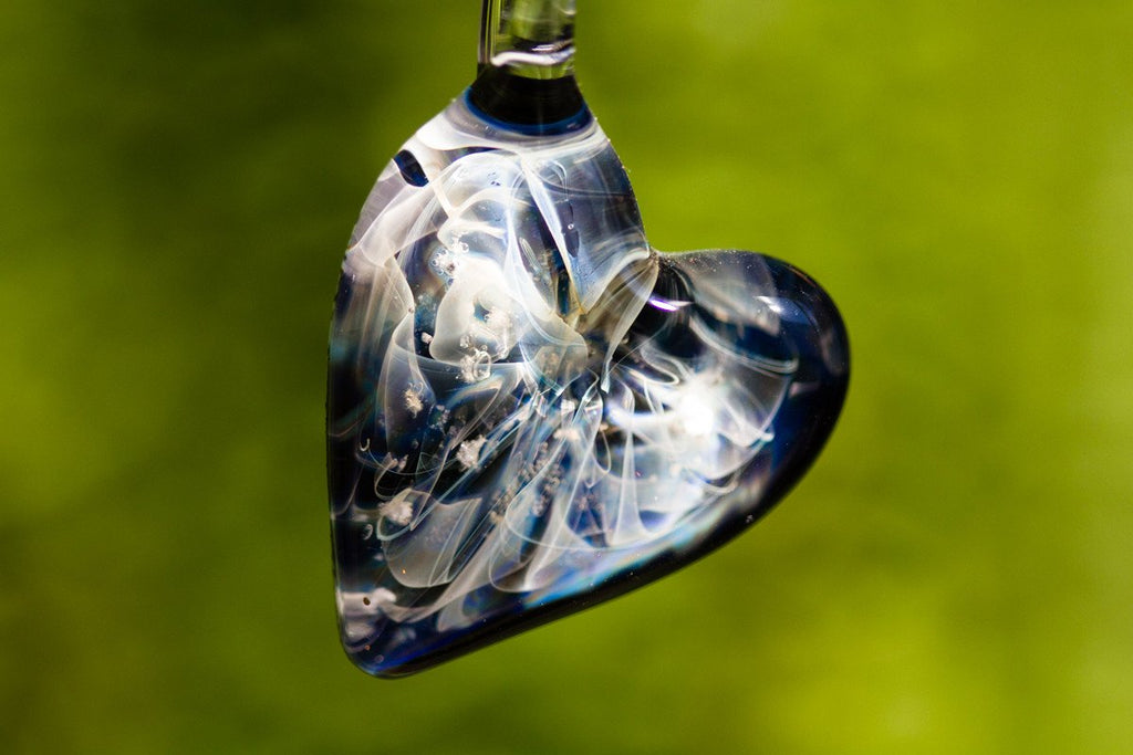 Ghost Heart Pendant with Infused Cremation Ash - GLASS-JEWELRY | $109.00