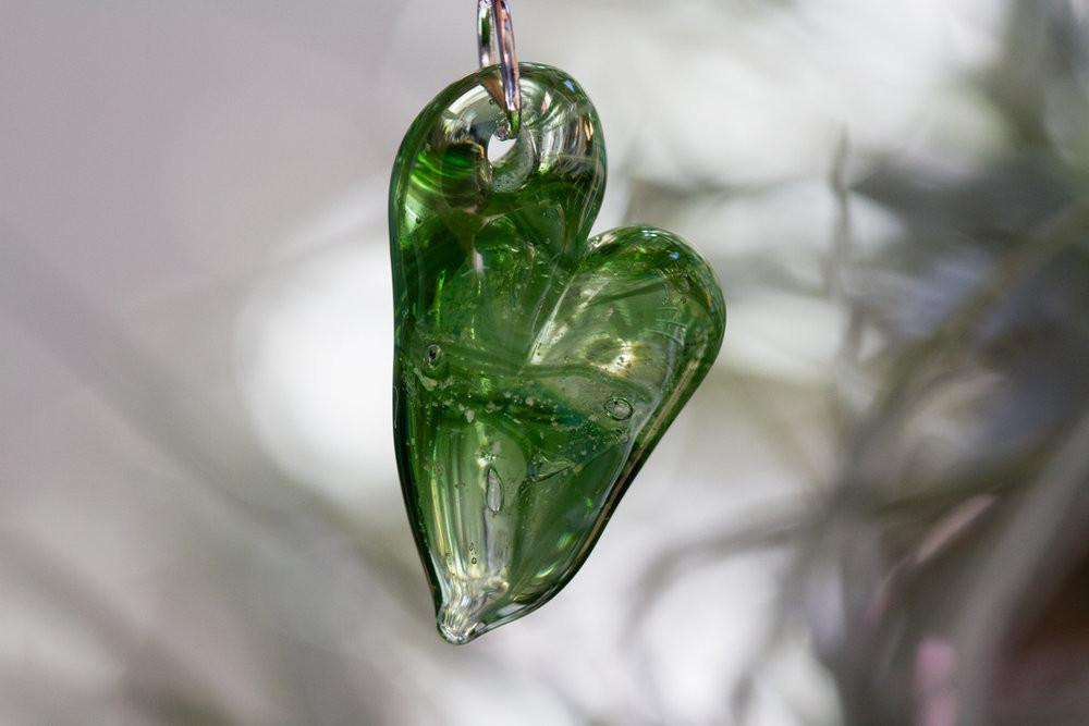 Glass Heart Pendant with Ash
