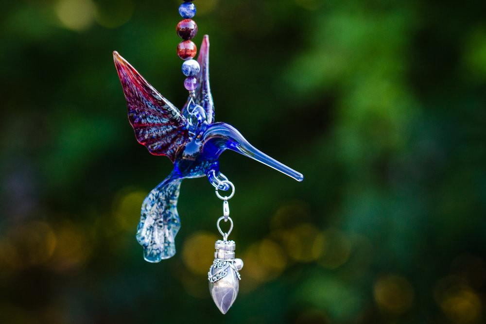 Glass Hummingbird with Silver Keepsake Urn for Ashes by Spirit Pieces - SUNCATCHER | $104.00, ashes in glass