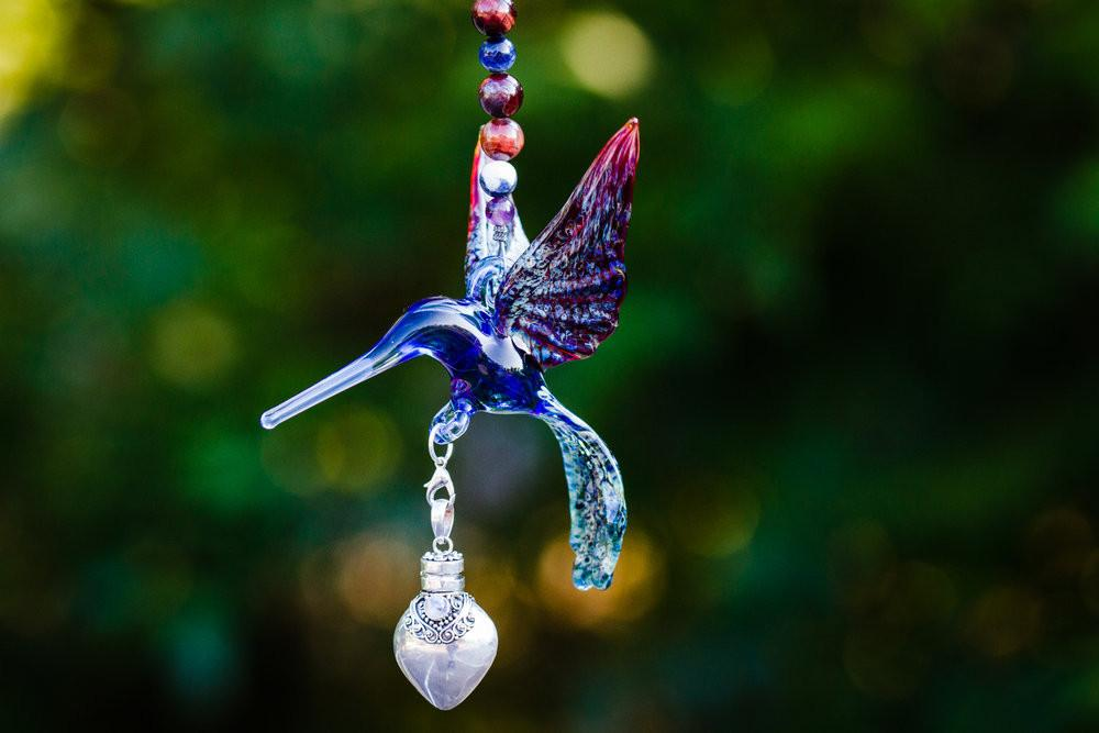 Glass Hummingbird with Silver Keepsake Urn for Ashes