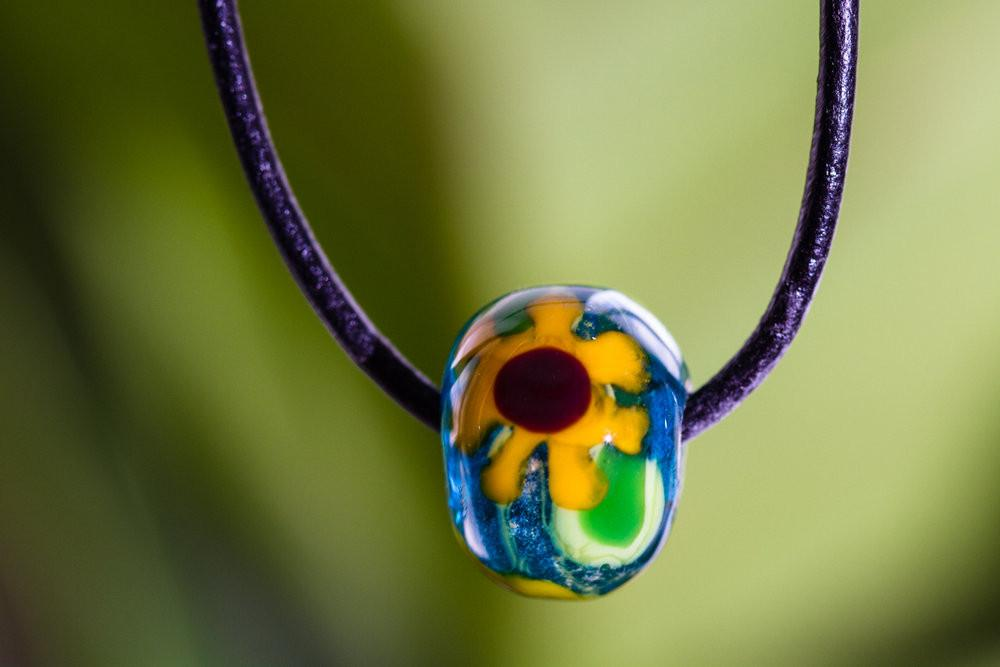 Glass Sunflower Bead with Infused Cremains