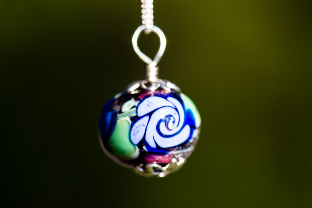 Glass Flower Pendant with Infused Cremains by Barbara - GLASS-JEWELRY | $94.00, ashes in glass