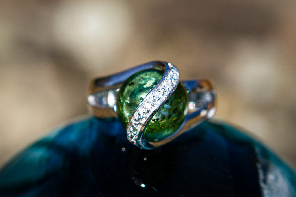 Sparkle Ring with 12mm Glass Marble Infused with Cremains - Cremation Jewelry | $154.00
