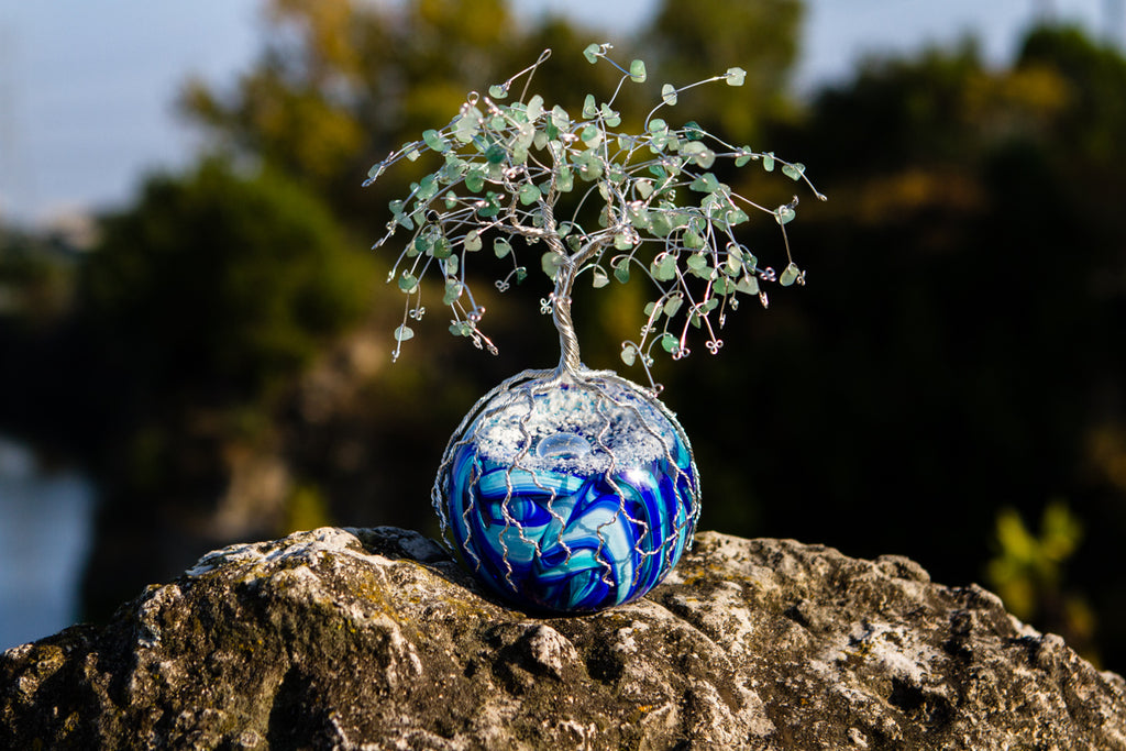 Snowy Mountain Top Tree of Life with Cremains and Adventurine Beading by MikeHD - PAPERWEIGHT | $269.00, ashes in glass