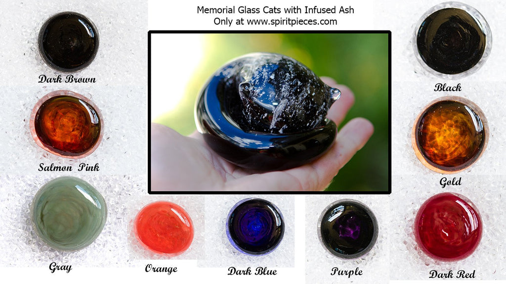 Half-tone Memorial Sleeping Glass Cat - Contains Cremation Ash in Glass - PAPERWEIGHT | $109.00