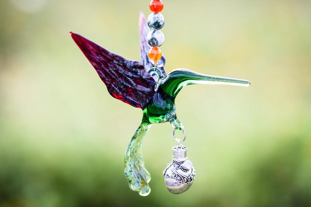 Handcrafted Glass Hummingbird Spirit Animal with Silver Keepsake Vial by Spirit Pieces - SUNCATCHER | $129.00, ashes in glass