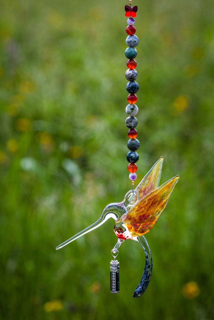 Handcrafted Glass Hummingbird with Sterling Silver Keepsake Vial to hold Ashes from Cremation
