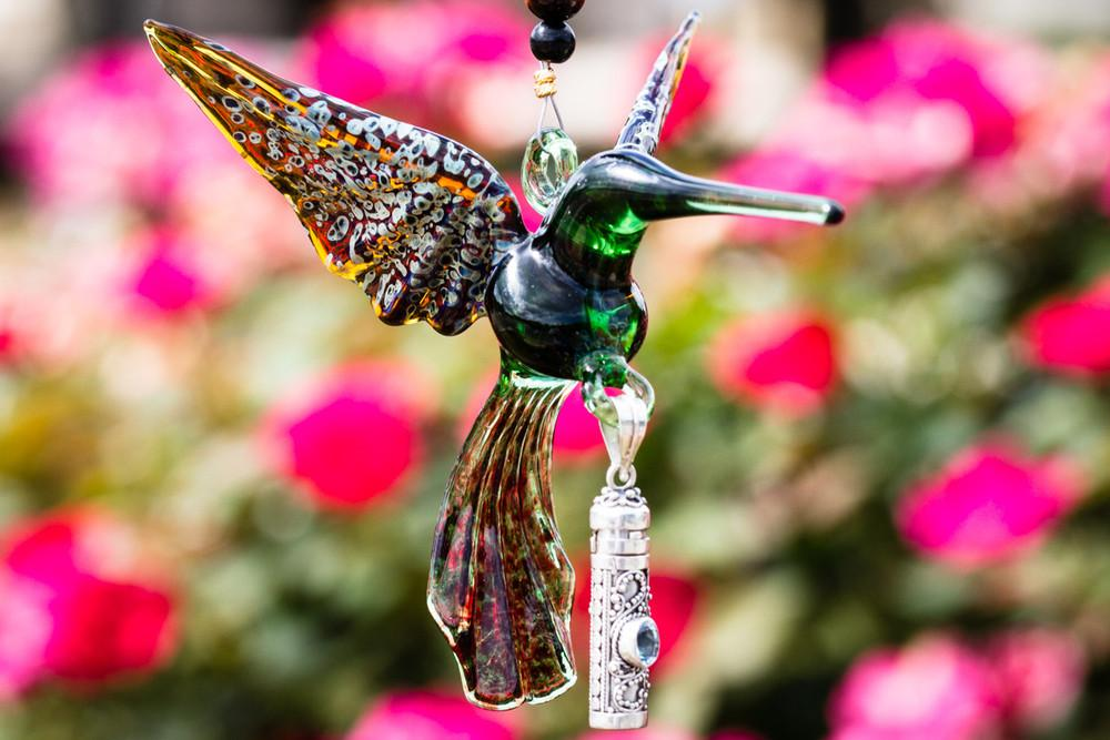 Handcrafted Glass Hummingbird with Sterling Silver Keepsake Vial to hold Ashs from Cremation by Spirit Pieces - SUNCATCHER | $92.00, ashes in glass