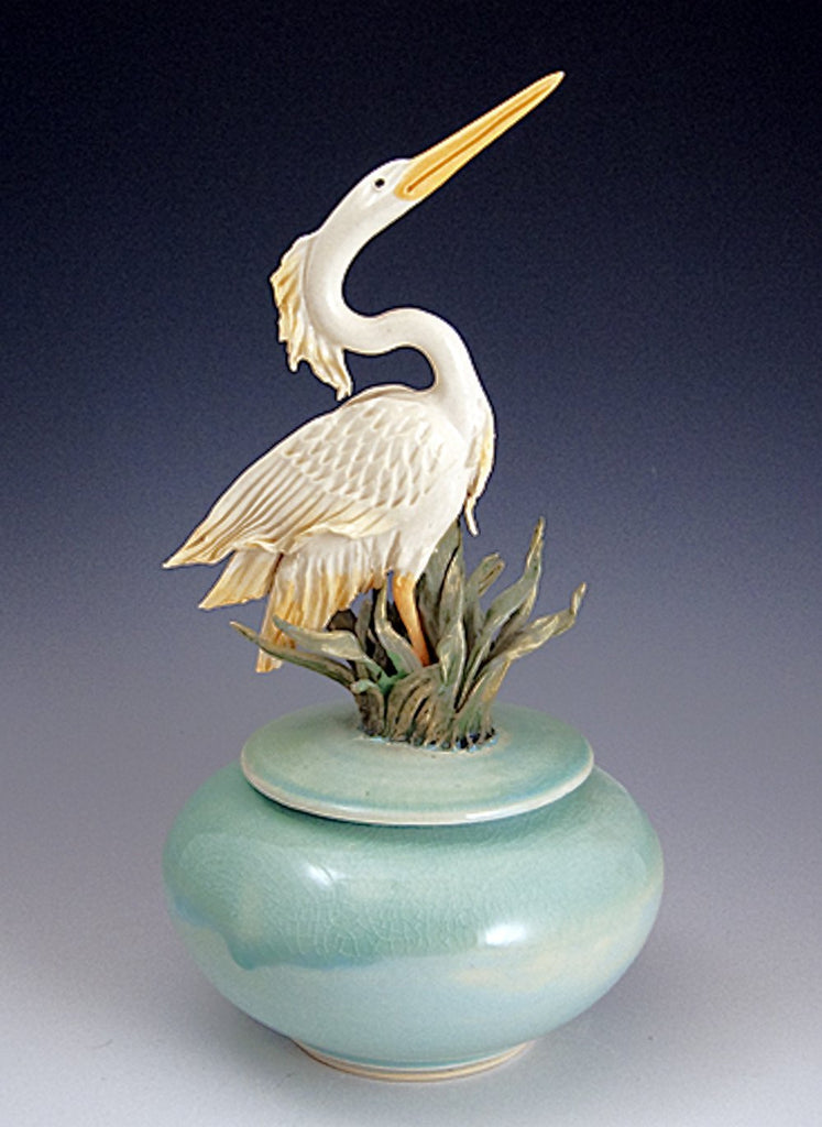 Handmade Ceramic Urn Jar for Ashes of Loved Ones with Handsculpted Ceramic Heron