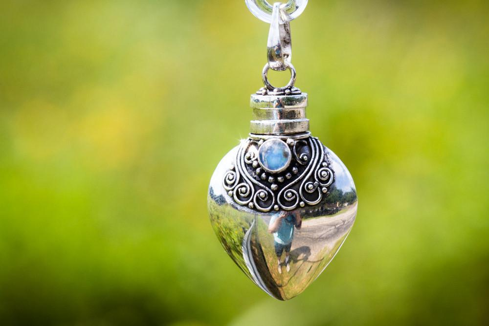 Handmade Glass Hot Air Balloon with Sterling Silver Keepsake Urn
