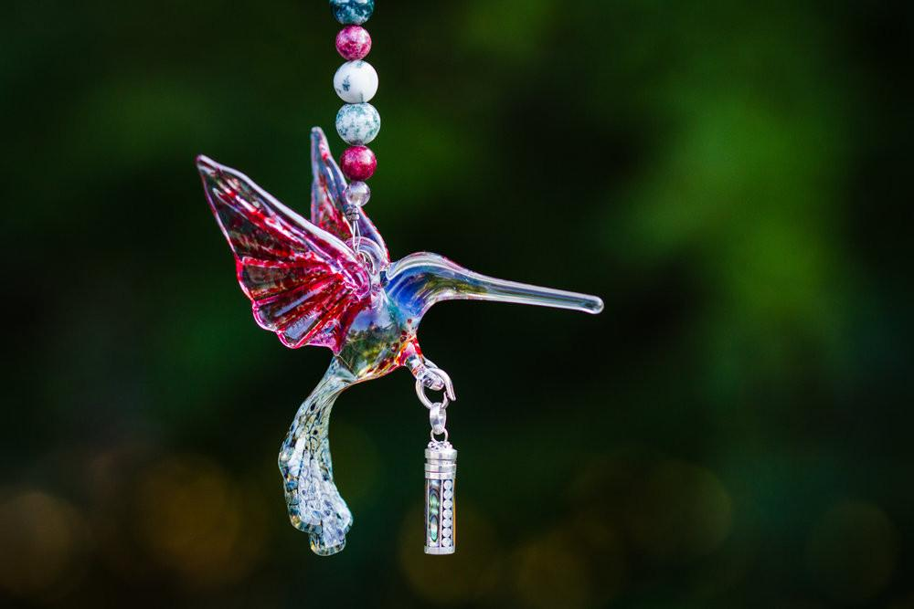 Heirloom Quality Glass Hummingbird with Silver Keepsake Vial for Ashes