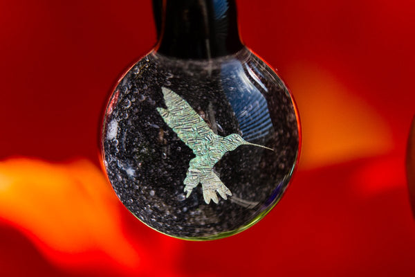 Hummingbird hologram pendant with infused cremation ash