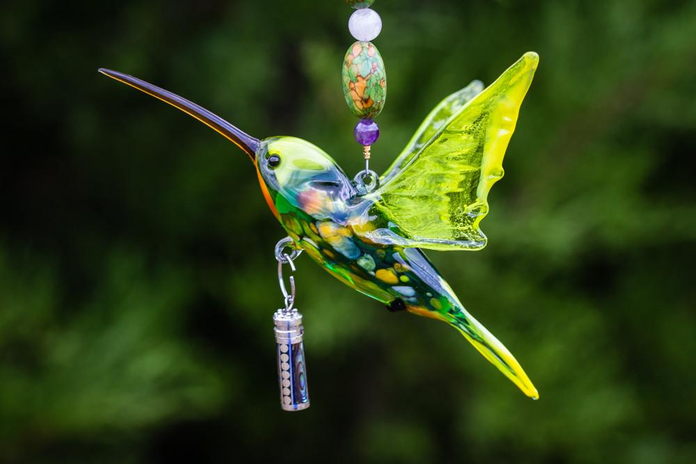 Hummingbird with Sterling Silver Keepsake with Silver Heart Cremation Urn by Spirit Pieces - SUNCATCHER | $104.00, ashes in glass