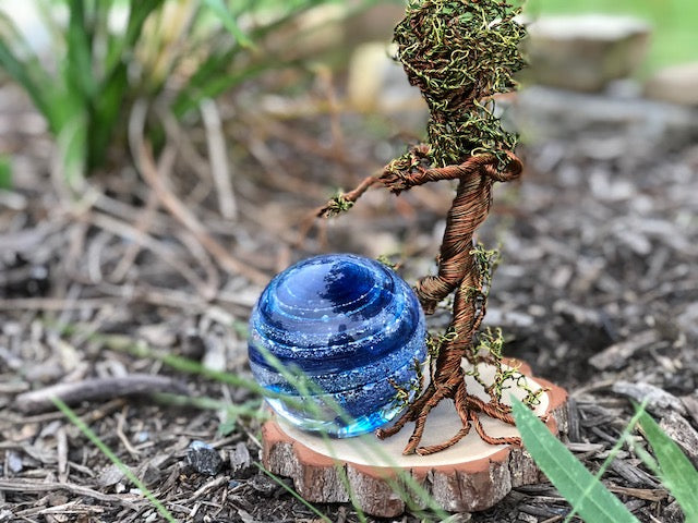 Ent Wire Sculpture with Cremains containg Tranquil Swirl Orb by Rachel - PAPERWEIGHT | $529.00, ashes in glass