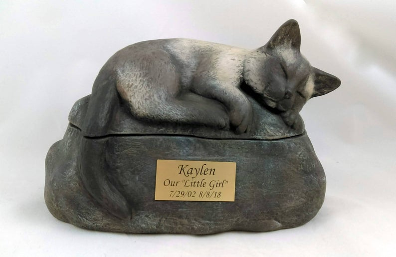 Short Haired Custom Painted Ceramic Cat Urn - No Wings