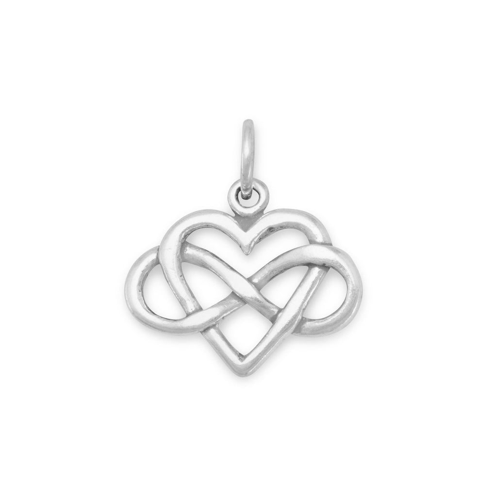 Infinity Heart Silver Charm