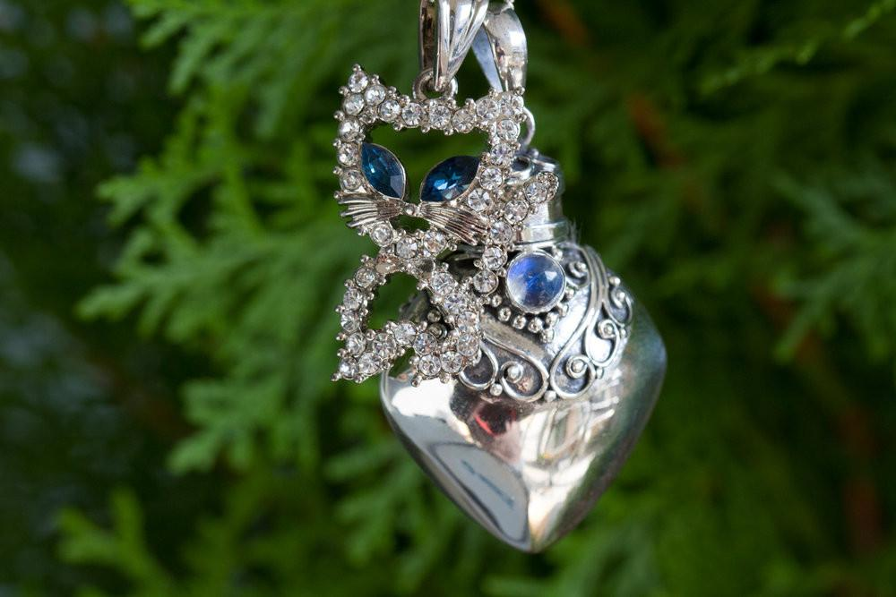 Kitty Cat Heart Sterling Silver Sympathy Necklace - Cremation Jewelry | $89.00