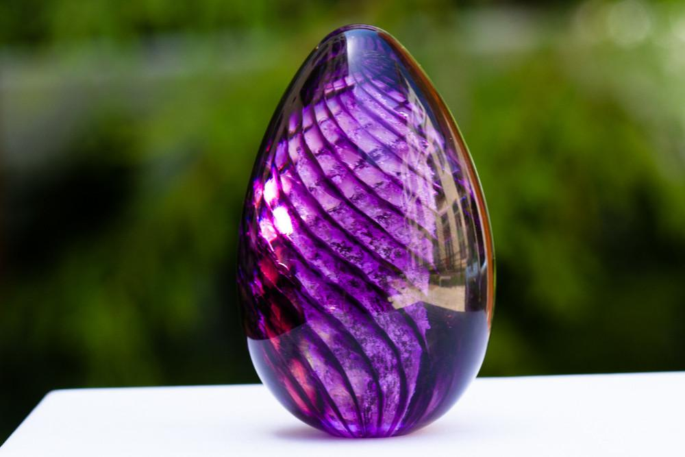 Lilac Spiral Memorial Glass Egg with Cremains - PAPERWEIGHT | $84.00