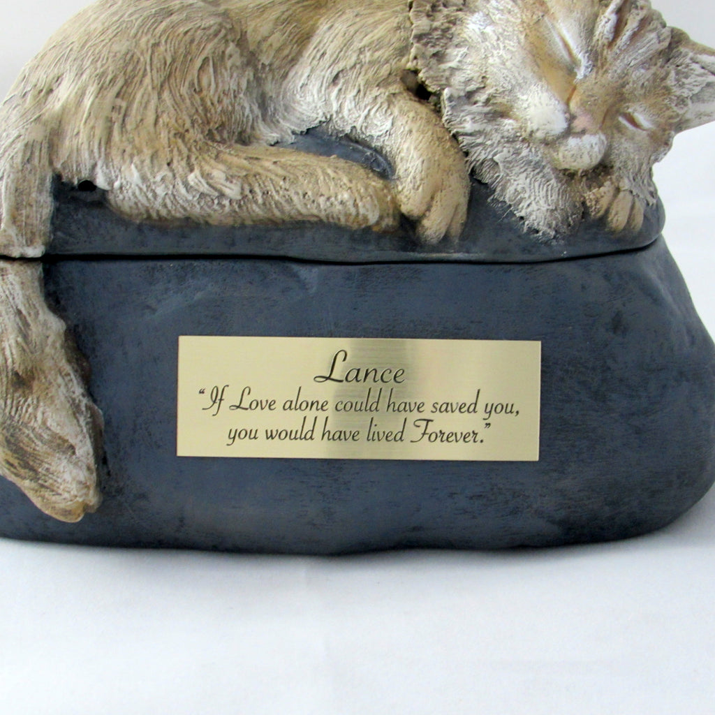 Long Haired Custom Painted Ceramic Cat Urn
