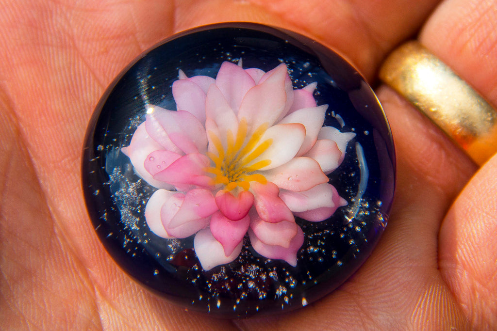 Large Lotus Glass Touchstone with Infused Cremains by DanBourguois - TOUCHSTONES | $179.00, ashes in glass