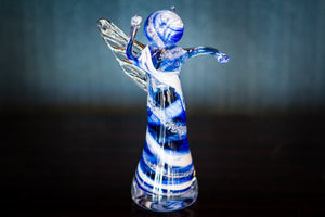 Memorial Glass Angels with Infused Cremation Ash by Keith - PAPERWEIGHT | $159.00, ashes in glass