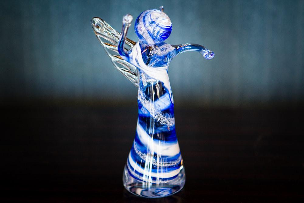 memorial glass angels with infused cremation ash in glass for people