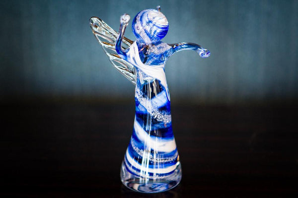 Memorial Glass Angels With Infused Cremation Ash By Keith