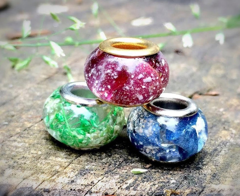 Nature's Love Pandora Beads with Cremains (3-Pack) - RESIN-JEWELRY | $92.00