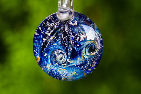 Glass cremation necklaces and pendants collection blue glass galaxy aloadofball Gallery